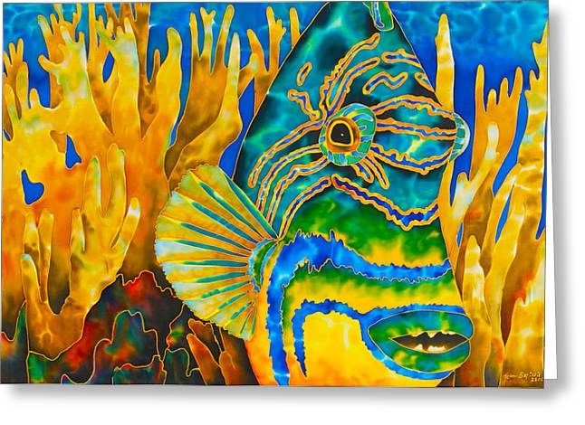 Triggerfish Postcard Tapestries - Textiles Greeting Cards - Anse Chastanet Greeting Card by Daniel Jean-Baptiste