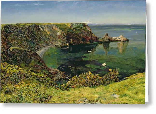 Fishing Village Greeting Cards - Ansteys Cove in Devon Greeting Card by John William Inchbold