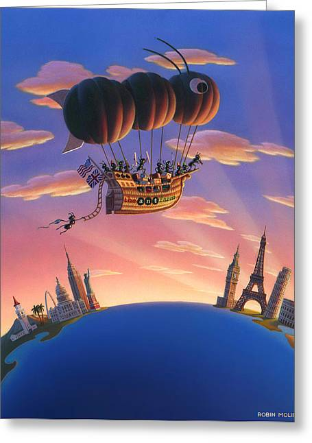 Robin Moline Greeting Cards - Ant Airship  Greeting Card by Robin Moline
