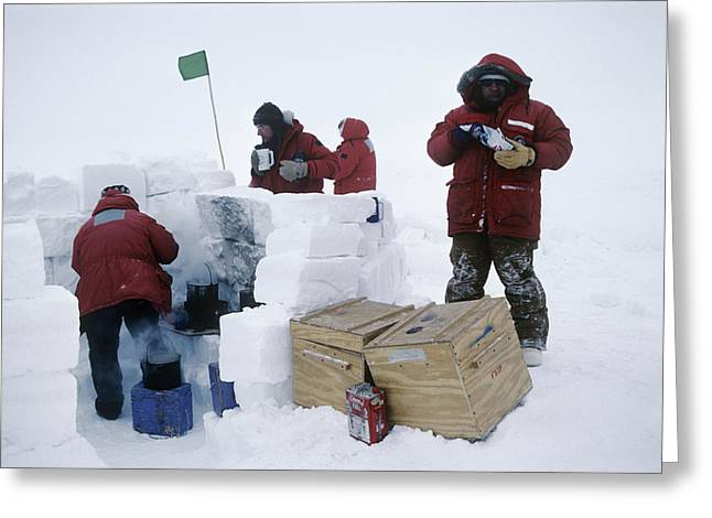 Frozen Drink Greeting Cards - Antarctic Field Training Greeting Card by David Vaughan