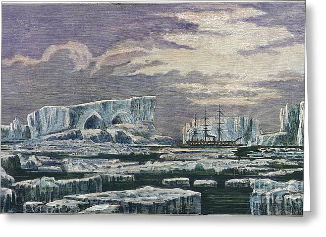 1874 Greeting Cards - Antarctica:hms Challenger Greeting Card by Granger