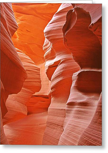 Natural Formations Greeting Cards - Antelope Canyon - Natures Art Gallery Greeting Card by Christine Till