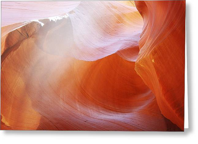 Cavern Greeting Cards - Antelope Canyon Light Beams - Unearthly Beauty Greeting Card by Christine Till