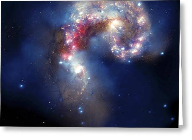 Antennae Galaxies, Composite Image Greeting Card by Nasa