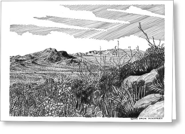 Pen And Ink Framed Prints Greeting Cards - Anthony Gap New Mexico Texas Greeting Card by Jack Pumphrey