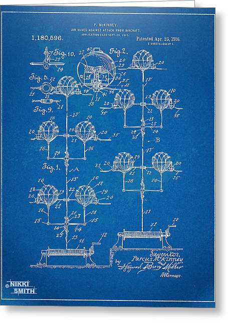 Navy Cross Greeting Cards - Anti-Aircraft Air Mines Patent Artwork 1916 Greeting Card by Nikki Marie Smith