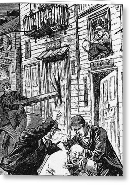 Anti Immigrant Greeting Cards - ANTI-CHINESE RIOT, 1880.  A Chinese man loses his pigtail during a race riot in Denver, Colorado in 1880. Contemporary American wood engraving Greeting Card by Granger