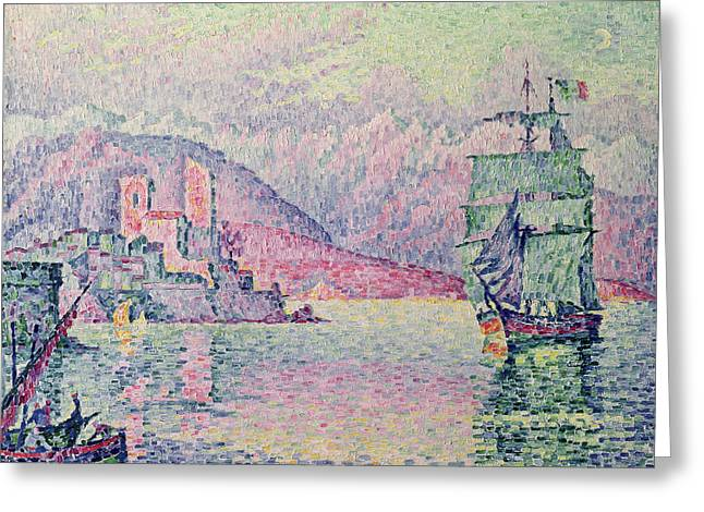 Impressionism Greeting Cards - Antibes Greeting Card by Paul Signac