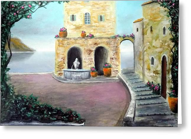 Antica Villa Sul Mare Greeting Card by Larry Cirigliano