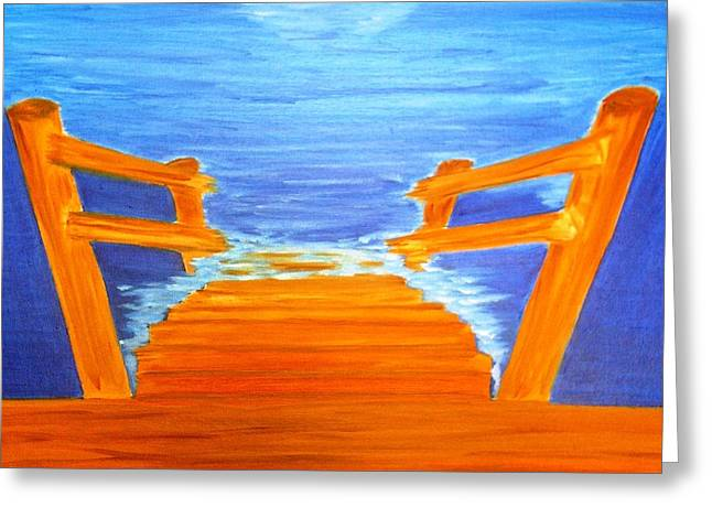 Wooden Stairs Greeting Cards - Anticipation Greeting Card by Michele Moore