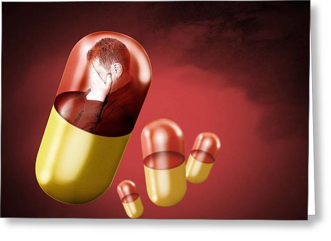 Antidepressant Medication Greeting Card by Victor Habbick Visions