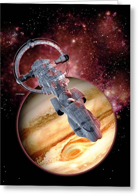 Interstellar Space Photographs Greeting Cards - Antimatter Drive Spaceship Greeting Card by Victor Habbick Visions
