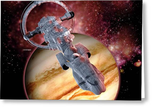 Antimatter Drive Spaceship Greeting Card by Victor Habbick Visions