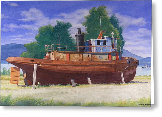 Antiquated Greeting Cards - Antiquated Hudson River Tug Greeting Card by Glen Heberling