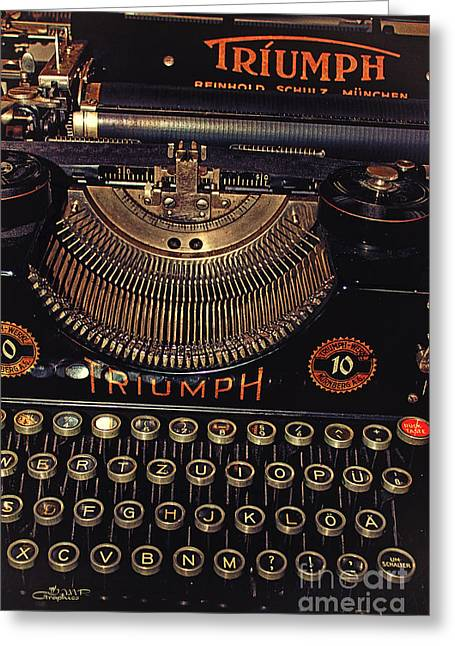 Typewriter Greeting Cards - Antiquated Typewriter Greeting Card by Jutta Maria Pusl