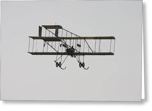 Restored Greeting Cards - Antique 1910 Henri 3 Biplane  Airplane Takes Flight Poster Print Greeting Card by Keith Webber Jr
