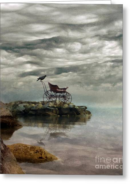 Foggy Ocean Greeting Cards - Antique Baby Buggy by the Sea Greeting Card by Jill Battaglia