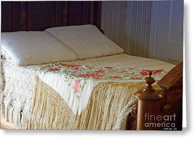 Antique Bed Greeting Card by Methune Hively