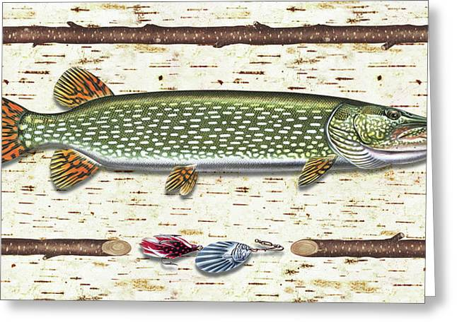 Tree Bark Greeting Cards - Antique Birch Pike and Lure Greeting Card by JQ Licensing