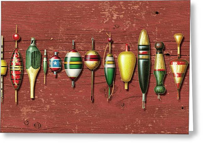 Bobber Greeting Cards - Antique Bobbers Red  Greeting Card by JQ Licensing