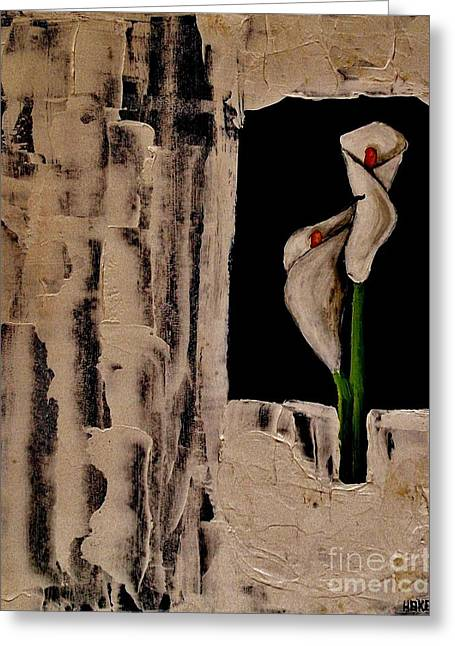 Knife Work Greeting Cards - Antique Calla Lily Greeting Card by Marsha Heiken