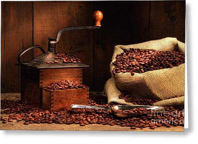 Stimulant Greeting Cards - Antique coffee grinder with beans Greeting Card by Sandra Cunningham