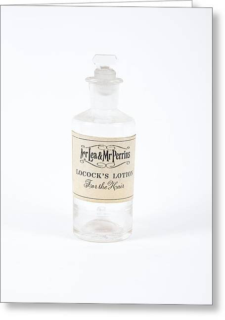 Glass Bottle Greeting Cards - Antique Hair Potion Bottle Greeting Card by Gregory Davies, Medinet Photographics