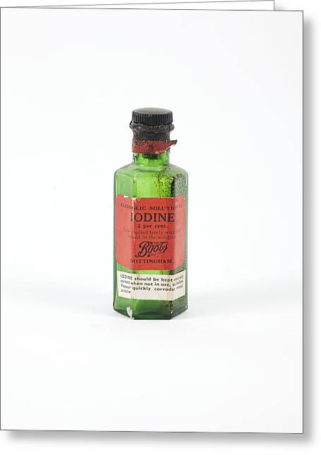 Glass Bottle Greeting Cards - Antique Iodine Bottle Greeting Card by Gregory Davies, Medinet Photographics