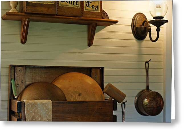 Antique Kitchen Wares Greeting Card by Carmen Del Valle