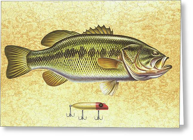Antique Lure and Bass Greeting Card by JQ Licensing