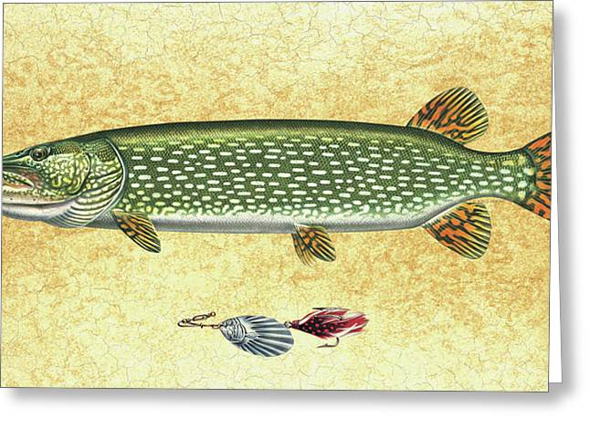 Nostalgic Paintings Greeting Cards - Antique Lure and Pike Greeting Card by JQ Licensing