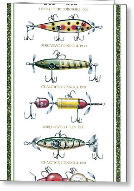 Baits Greeting Cards - Antique Lure Panel Greeting Card by JQ Licensing
