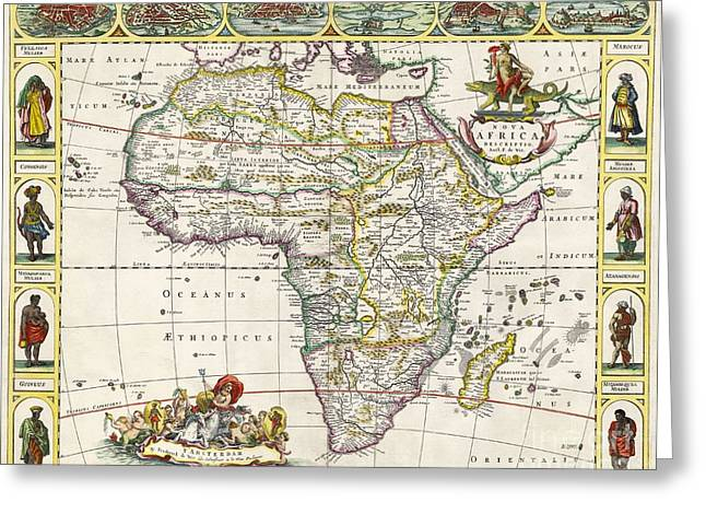 Africa Map Greeting Cards - Antique Map of Africa Greeting Card by Dutch School