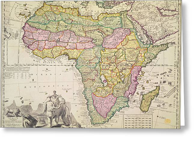 Border Greeting Cards - Antique Map of Africa Greeting Card by Pieter Schenk