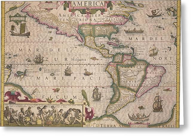 Geography Drawings Greeting Cards - Antique Map of America Greeting Card by Jodocus Hondius