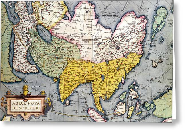 Continent Greeting Cards - Antique Map of Asia Greeting Card by Claes Jansz