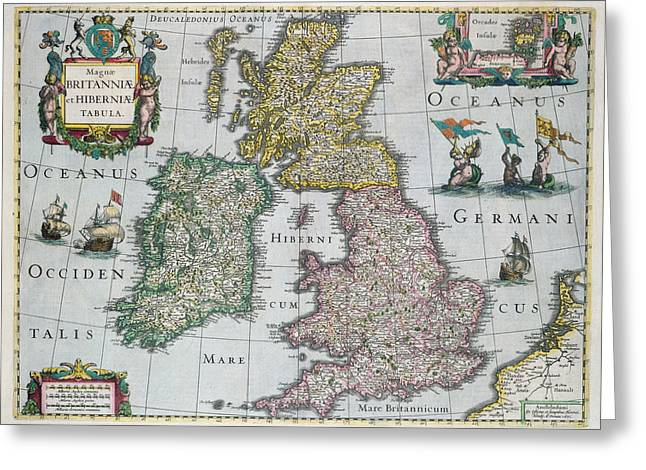 Historic England Greeting Cards - Antique Map of Britain Greeting Card by English School