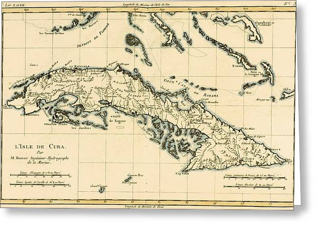 Coloured Greeting Cards - Antique Map of Cuba Greeting Card by Guillaume Raynal