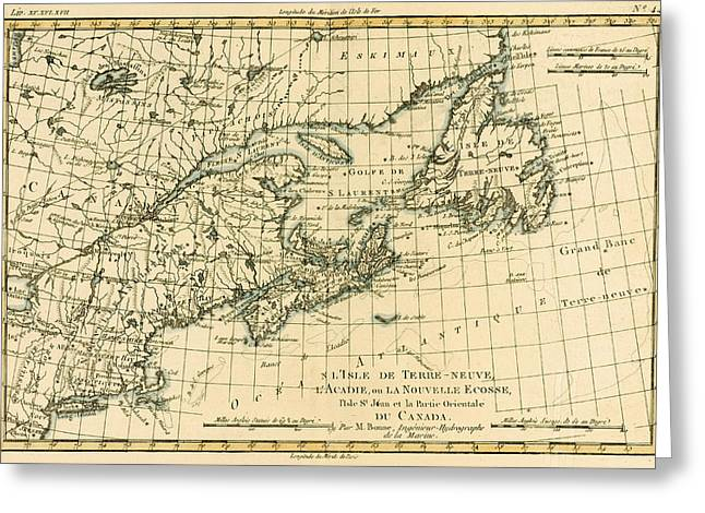 Geography Drawings Greeting Cards - Antique Map of Eastern Canada Greeting Card by Guillaume Raynal