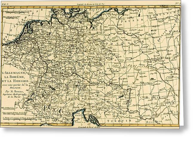 Border Drawings Greeting Cards - Antique Map of Germany Bohemia and Hungary with part of Poland Greeting Card by Guillaume Raynal