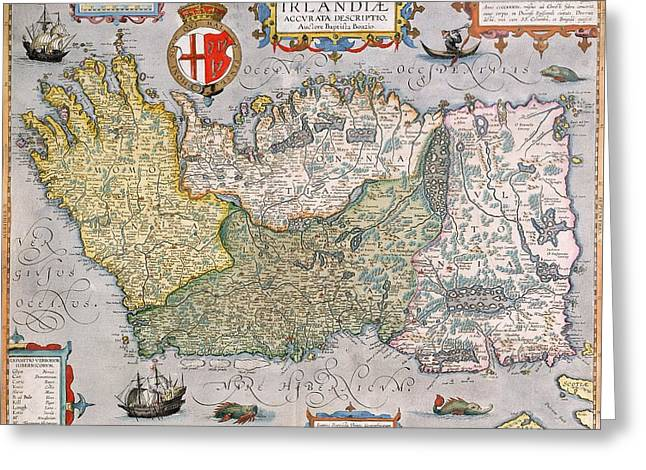 Geography Drawings Greeting Cards - Antique Map of Ireland Greeting Card by  English School