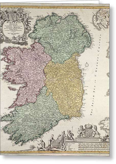 Divide Greeting Cards - Antique Map of Ireland showing the Provinces Greeting Card by Johann Baptist Homann