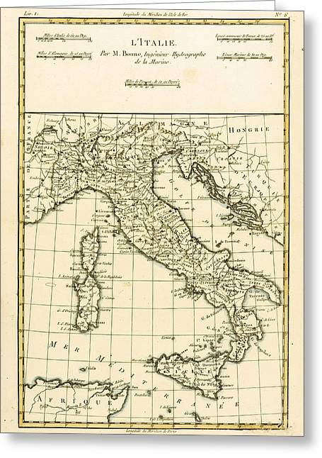 Geography Drawings Greeting Cards - Antique Map of Italy Greeting Card by Guillaume Raynal