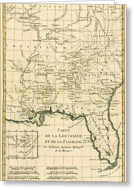 Alabama Drawings Greeting Cards - Antique Map of Louisiana and Florida Greeting Card by Guillaume Raynal