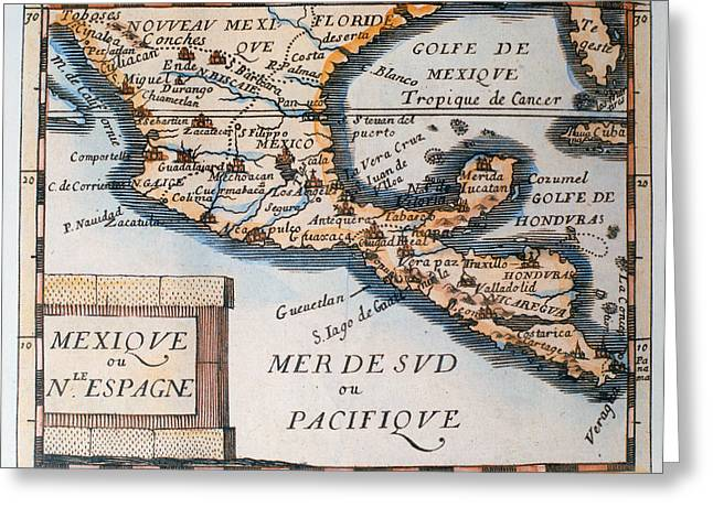 Vintage Map Paintings Greeting Cards - Antique Map of Mexico or New Spain Greeting Card by French School