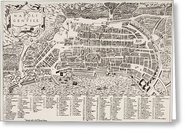 Geographical Locations Greeting Cards - Antique Map of Naples Greeting Card by Italian School