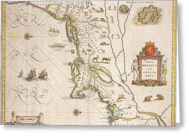 Border Drawings Greeting Cards - Antique Map of New Belgium and New England Greeting Card by Joan Blaeu