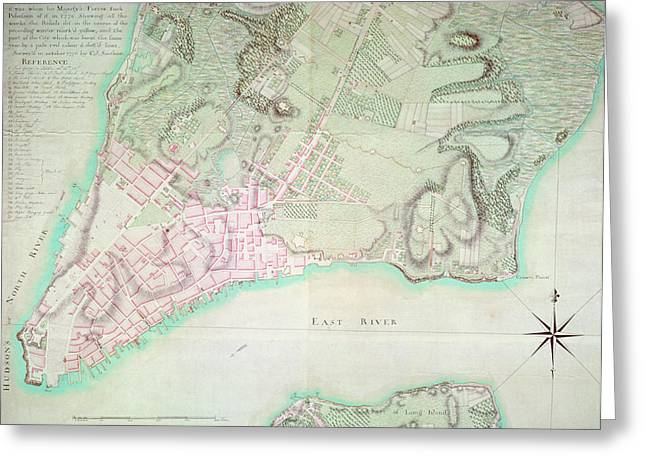 Manhattan Drawings Greeting Cards - Antique Map of New York Greeting Card by English School