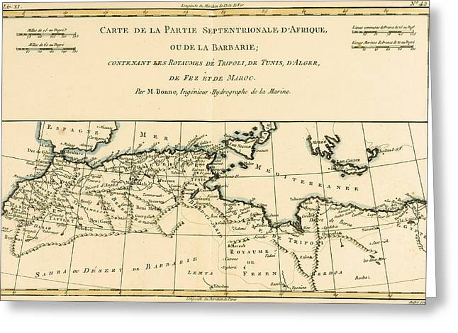 Antique Map Of North Africa Greeting Card by Guillaume Raynal