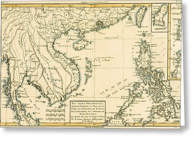 Geography Drawings Greeting Cards - Antique Map of South East Asia Greeting Card by Guillaume Raynal